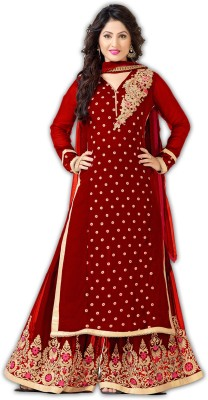 SOFTIEONS E-COMMERCE Georgette Embroidered Salwar Suit Dupatta Material