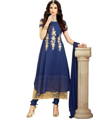 Miss Ethnic Georgette Embroidered Semi-stitched Salwar Suit Dupatta Material