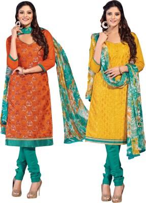 Manthan Chanderi, Jacquard Embroidered Salwar Suit Dupatta Material, Kurti Fabric