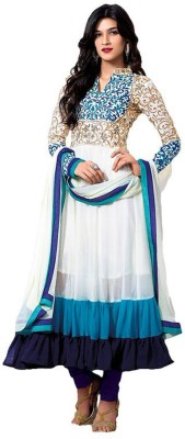 Radha Krishna Fashion Georgette Embroidered Semi-stitched Salwar Suit Dupatta Material