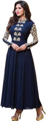 ShreeN50 Georgette Embroidered Semi-stitched Gown & Salwar Material