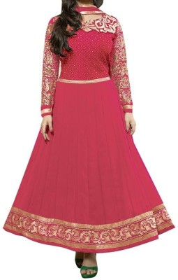 J AND J FASHION Georgette Embroidered Semi-stitched Salwar Suit Dupatta Material