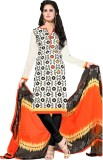 FR Chanderi Embroidered Semi-stitched Sa...