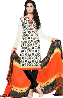 FR Chanderi Embroidered Semi-stitched Salwar Suit Dupatta Material