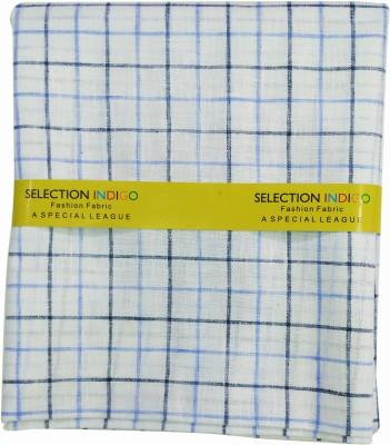 Selection Indigo Cotton Linen Blend Checkered Shirt Fabric