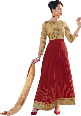 Fabfirki Fashion Hub Georgette Self Design Semi-stitched Salwar Suit Dupatta Material
