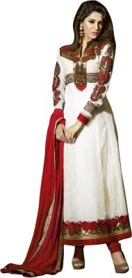 De Marca Georgette Embroidered Semi-stitched Salwar Suit Dupatta Material