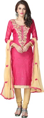 Merito Cotton Embroidered Salwar Suit Material, Semi-stitched Salwar Suit Material