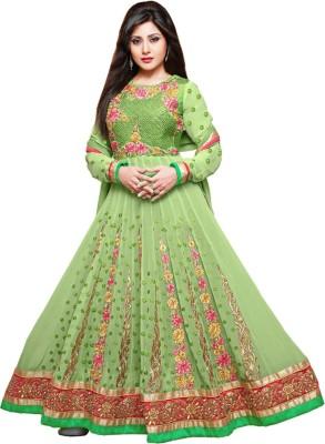 Shoponbit Georgette Embroidered Semi-stitched Salwar Suit Dupatta Material