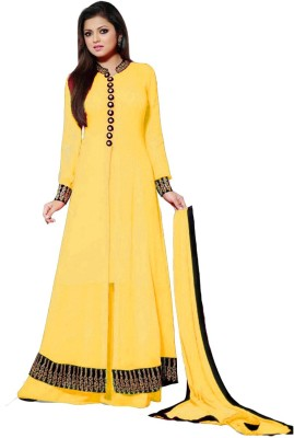 Sitaram Georgette Self Design Semi-stitched Lehenga Kurta Material, Semi-stitched Gown