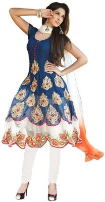 Madhav Fashion Georgette Embroidered Semi-stitched Salwar Suit Dupatta Material