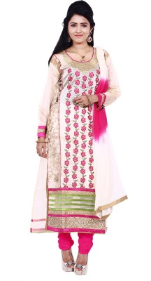 Touch Patiala Chanderi Embroidered Semi-stitched Salwar Suit Dupatta Material