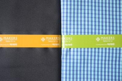 Makers Cotton Polyester Blend Checkered Shirt & Trouser Fabric