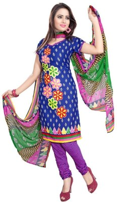 NANCYFASHION. Crepe Printed Semi-stitched Salwar Suit Dupatta Material