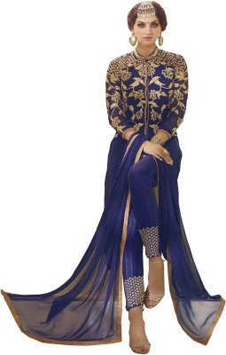 Shahlon Georgette, Chiffon Embroidered Semi-stitched Gown & Salwar Material