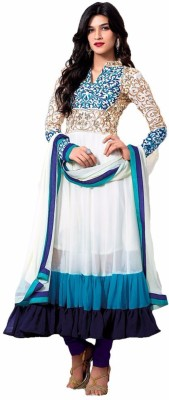 Harikrishna Fashion Georgette Self Design Semi-stitched Salwar Suit Dupatta Material