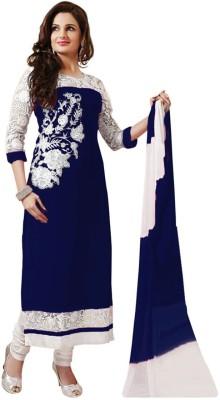 Fashionatics Georgette Embroidered Semi-stitched Salwar Suit Dupatta Material