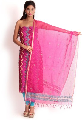 Kasturi-B Swadeshi Karigari Cotton Silk Blend Embroidered Salwar Suit Dupatta Material