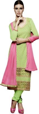 Varanga Chiffon Embroidered Semi-stitched Salwar Suit Dupatta Material
