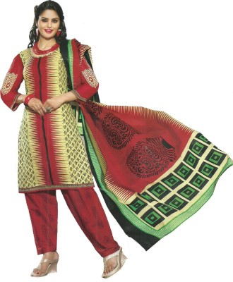 P Style Cotton Printed Semi-stitched Salwar Suit Dupatta Material