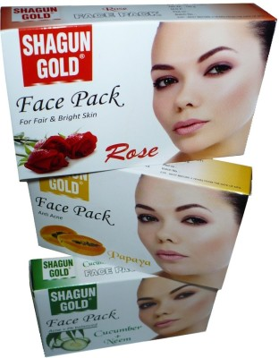 Shagun Gold Face Pack Combo Rose, Papaya, Cucumber , Neem