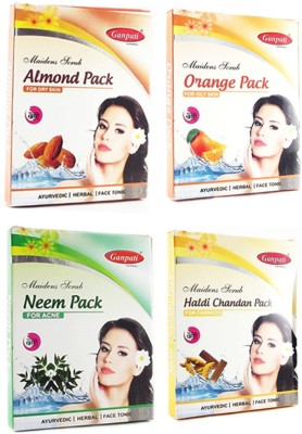 Ganpati Herbal Almond Orange Neem Haldi Chandan Face pack 25 Gms Each Set of 4