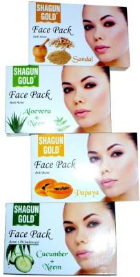 Shagun Gold Face Pack Combo Sandal, Aloevera Neem, Cucumber Neem, Papaya