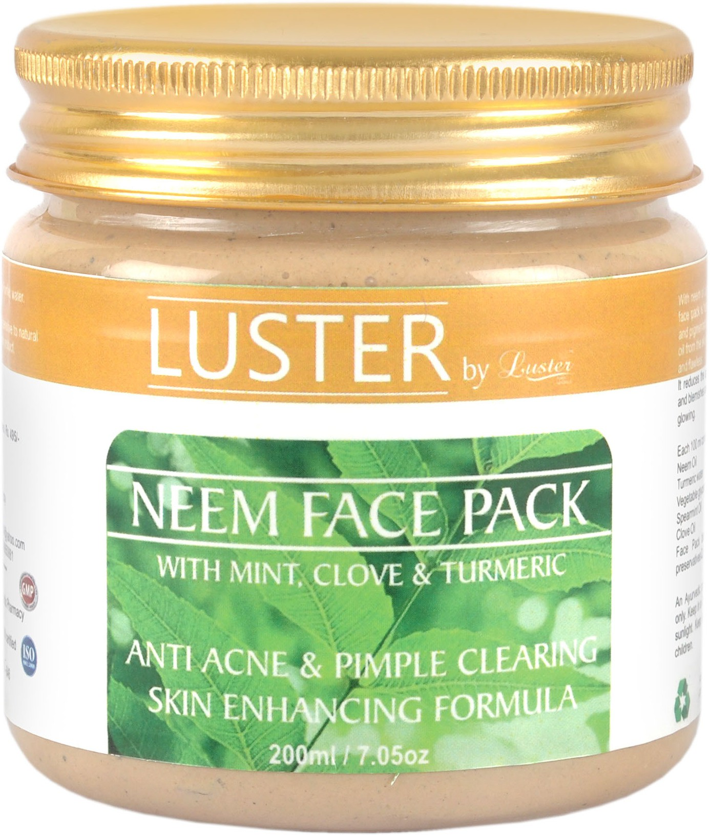 Luster Luster Neem Face Pack For Acne & Pimple Clearing (Small)(200 ml)