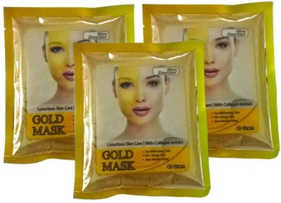 Skin Doctor Glod Mask For Skin Whitening With Collagen Extract Pack Of 3
