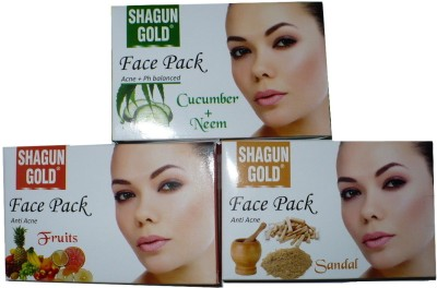 Shagun Gold Face Pack Combo Cucumber Neem, Fruit, Sandal