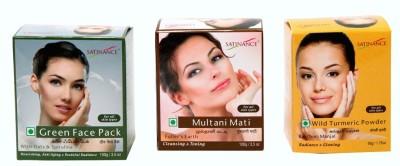 Satinance Green Face Pack + Multani Mati (Fullers Earth) + Wild Turmeric Powder (Kasthuri Manjal)