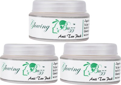 Glowing Buzz Combo of 3 Natural Anti Tan Pack for Face, Dark Under Arms and Hands