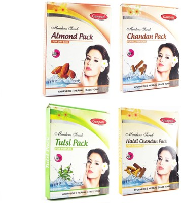 Ganpati Herbal Almond Chandan Tulsi Haldi Face Packs 25 gms each Set of 4(100 g)