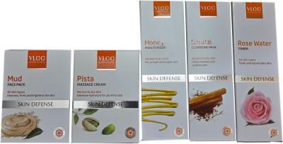 VLCC SKIN DEFENSE KIT with Mud Pack, Pista Massage cream, Sandal Cleansing Milk, Rose Water, Honey Moisturiser