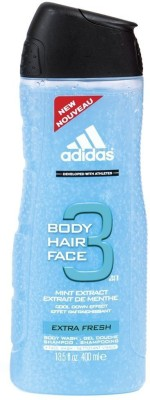 Adidas Body Hair Face 3 In 1 Mint Extreact Cool Down Effect Extra Fresh Shower gel Shampoo Face Wash