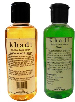 Khadi Herbal Sandalwood & Honey and Neem Combo Face Wash