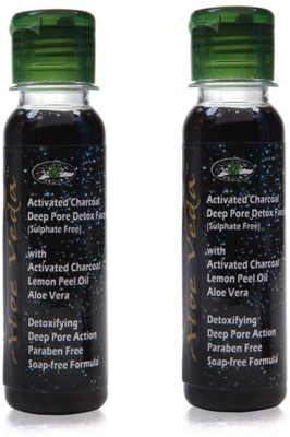 Aloe Veda Activated Charcoal Deep Pore Detox Face Wash pack of 2- Sulphate Free Face Wash