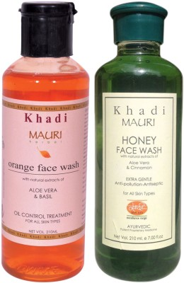 Khadimauri Ayurvedic Herbal Face Wash Combo Pack of 2 Orange & Honey Natural & Organic 210 ml each Face Wash