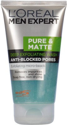 L ,Oreal Paris Men Expert Pure & Matt Exfoliating Face Wash -Anti Blocked Pores Large Size Face Wash