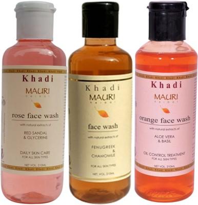 Khadimauri Ayurvedic Herbal Face Wash Combo Pack of 3 Rose Orange & Fenugreek (Methi) Natural & Organic 210 ml each Face Wash