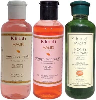 Khadimauri Ayurvedic Herbal Face Wash Combo Pack of 3 Rose, Orange & Honey Natural & Organic 210 ml each Face Wash
