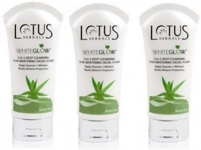 Lotus 3 in 1 Deep Cleansing Skin Whitening Facial Foam - Whiteglow (Pack of 3) Face Wash