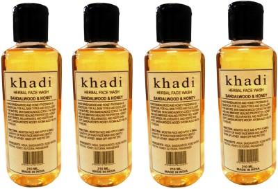 Khadi Herbal Sandalwood & Honey pack of 4 Face Wash