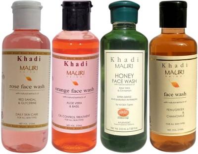 Khadimauri Ayurvedic Herbal Face Wash Combo Pack of 4 Rose Honey Orange & Fenugreek (Methi) Natural & Organic 210 ml each Face Wash