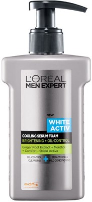 L ,Oreal Paris Men Expert White Active Cooling Serum Foam - Brightening + Oil Control Face Wash