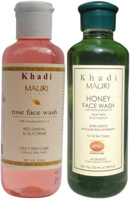 Khadimauri Ayurvedic Herbal Face Wash Combo Pack of 2 Rose & Honey Natural & Organic 210 ml each Face Wash