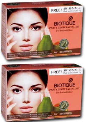 Biotique PartyGlow Facial kit For Isnstant Glow Pack of 2(set of 4) 120 g