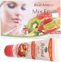 Bigsale786 Real Aroma Mix Fruit Spa Facial Kit 5 in 1 Free Aroma Fruit Soap Free Face Wash 740 g