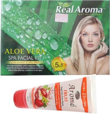 BIGSALE786 Real Aroma Aloe Vera Spa Facial Kit 5 in 1 Free Asta Berry Neam & Aloe Face Wash 710 g