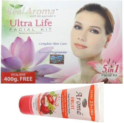 BIGSALE786 Real Aroma Ultra Life Facial Kit 5 in 1 Free Asta Berry Neam & Tulsi Face Wash 740 g